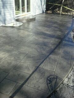 Colored And Stamped Concrete Patio With Ashlar Slate Stamp