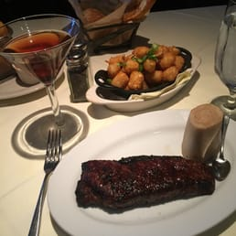 "The Park Steakhouse - Park Ridge, NJ, United States. NY Sirloin, Truffle Tots, and ""The Drake"" Manhattan"