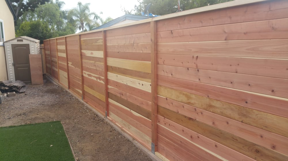 My New Retaining Wall With Horizontal Slat Fence On Top