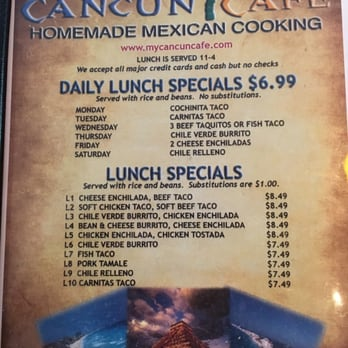 Cancun Cafe Menu Salt Lake City