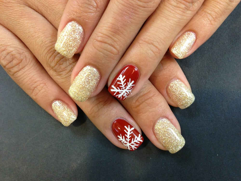 Christmas Nails! Snowflake, glitter, square shape. - Yelp