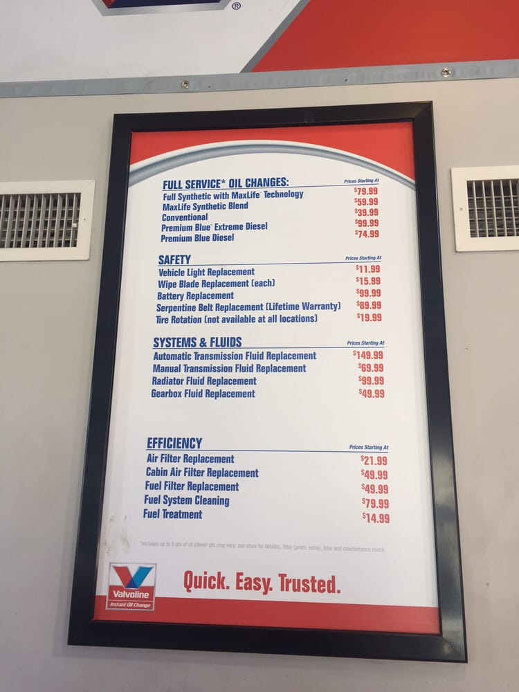Updated Price List Yelp