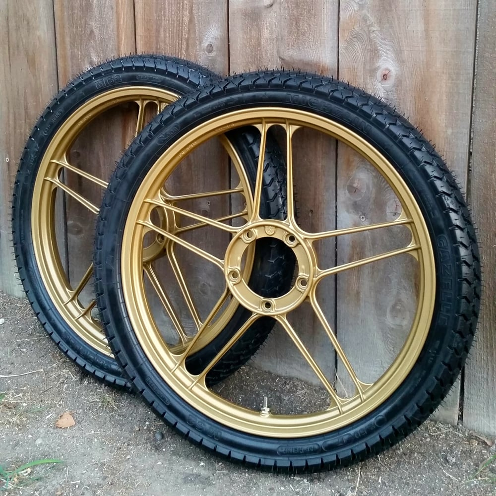 My gold Puch moped wheels came out exactly like I had wanted