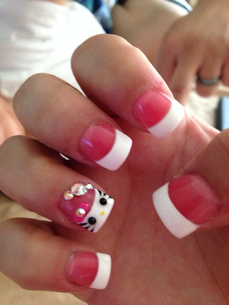 My Pink French Tip With Hello Kitty Bling On Ring Fingers