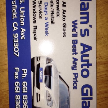 Adams auto glass auto glass services 5311 s union ave for Business cards bakersfield
