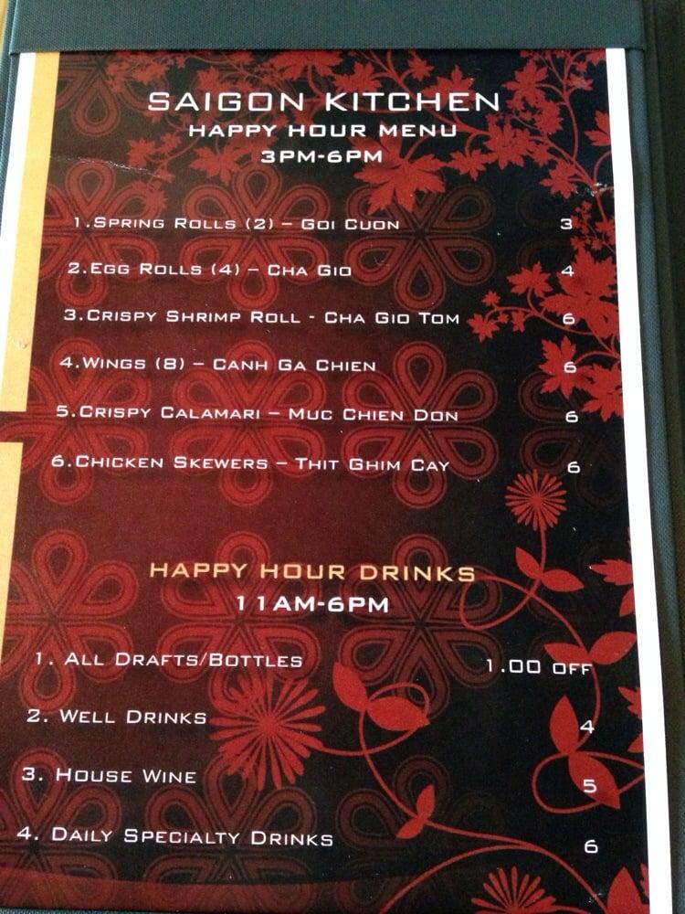 Saigon Kitchen: Happy Hour menu  Not on website  - Yelp