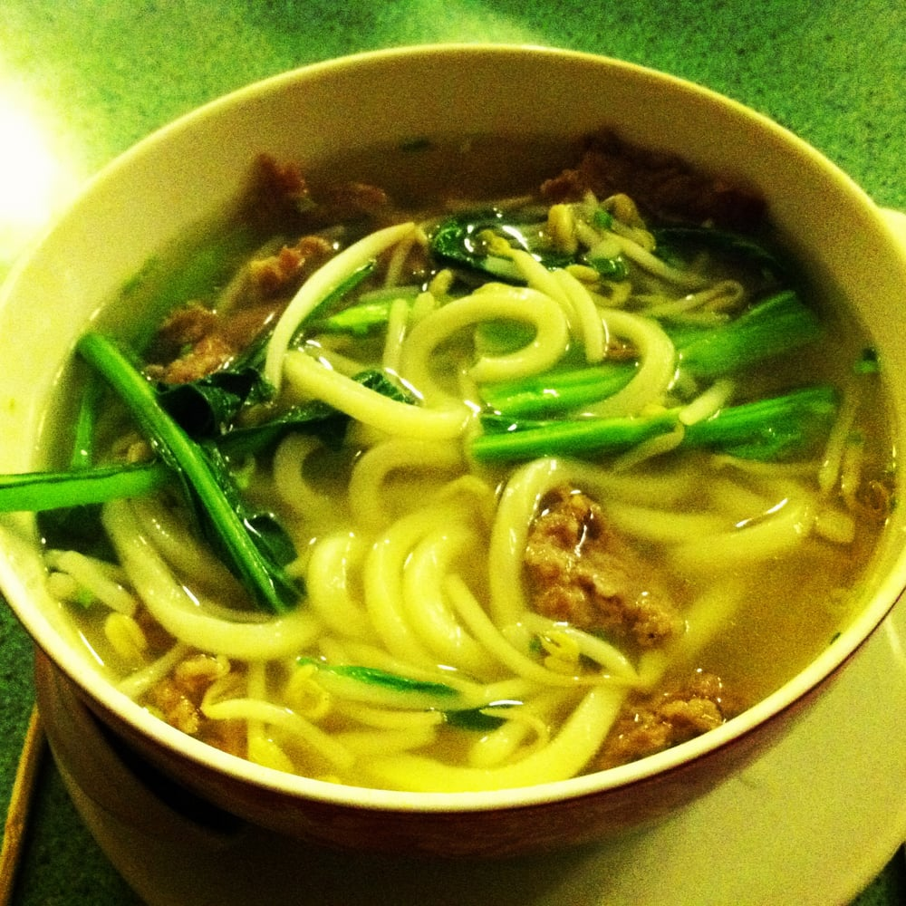 Chinatown style noodle soup with sliced beef and udon for Asian cuisine hoboken