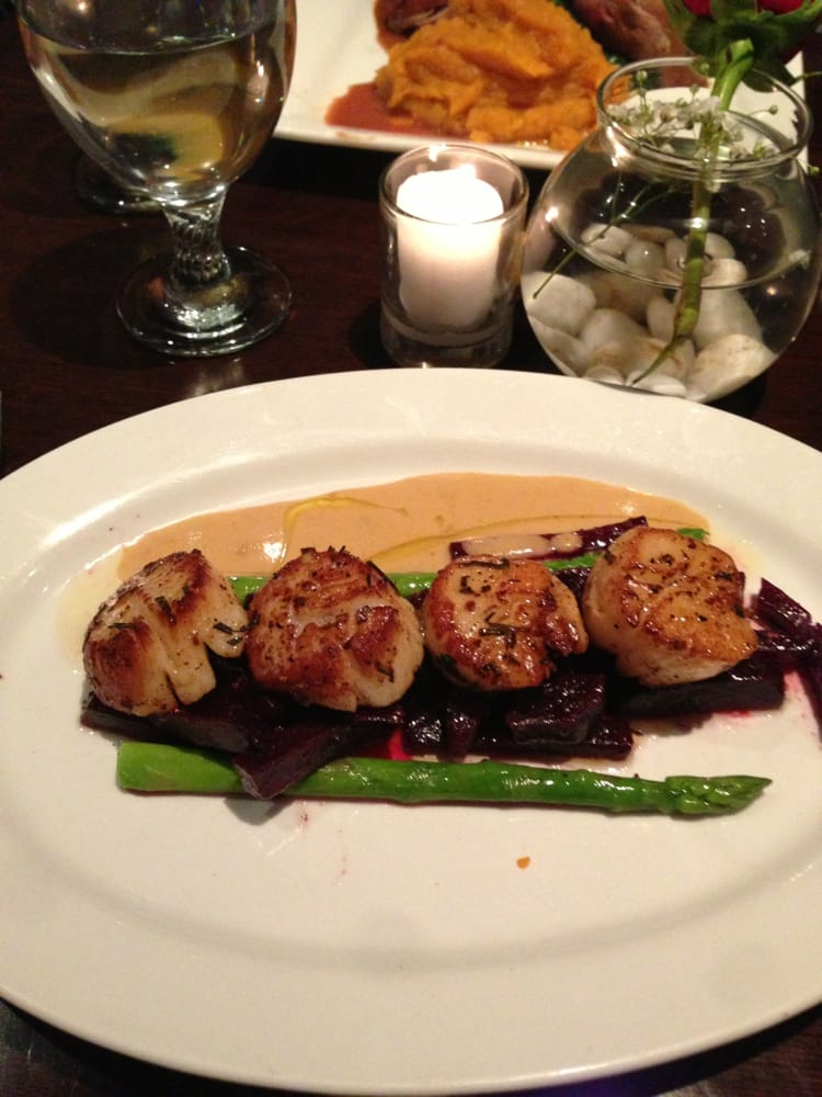 ... Sea scallops with roasted beets, asparagus, and an orange marmalade