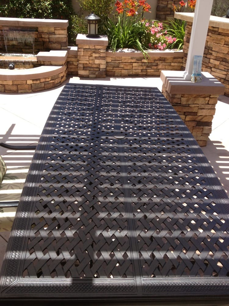 Patio table chairs on backlog until august yelp for Macy s home furniture store
