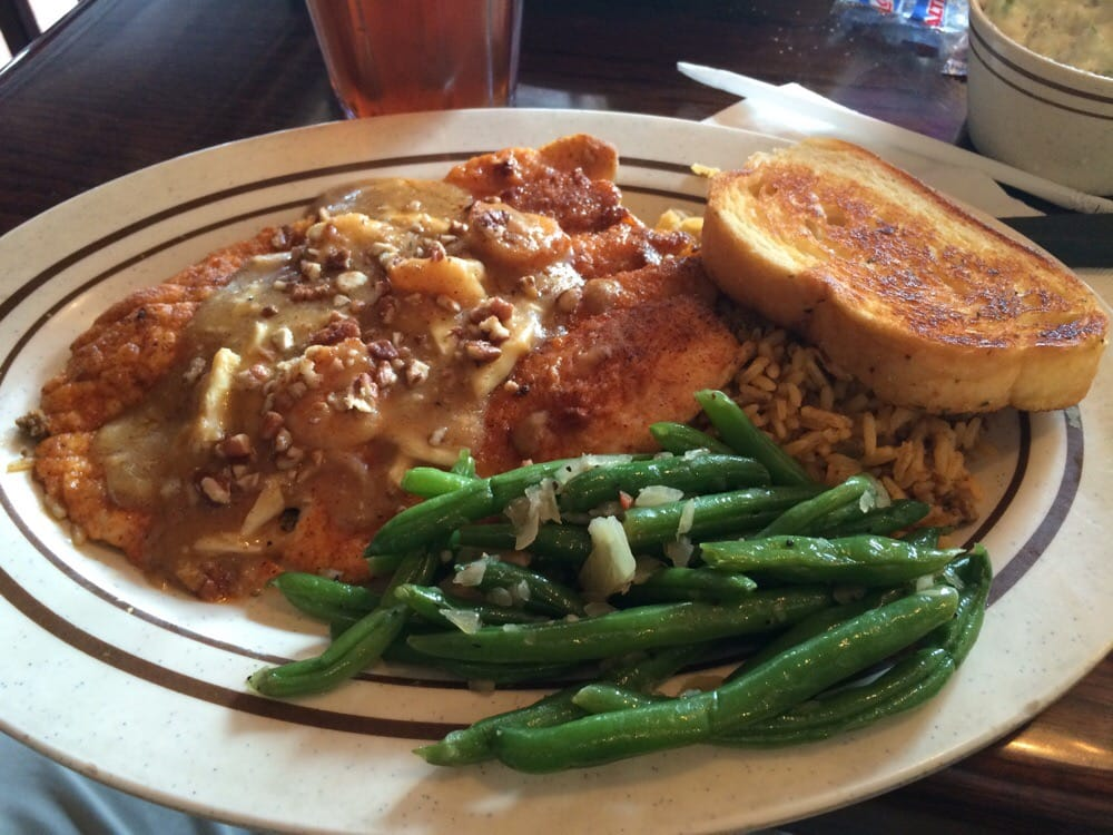 Pecan Crusted Rainbow Trout With Dirty Rice And Green Beans Yelp