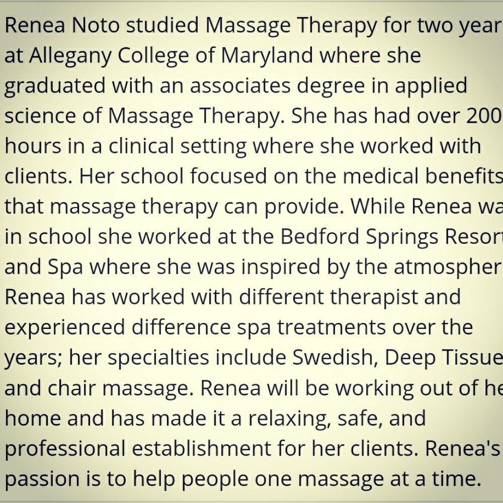 Rejuvenating Massage by Renea Noto: 104 W Pitt St, Bedford, PA
