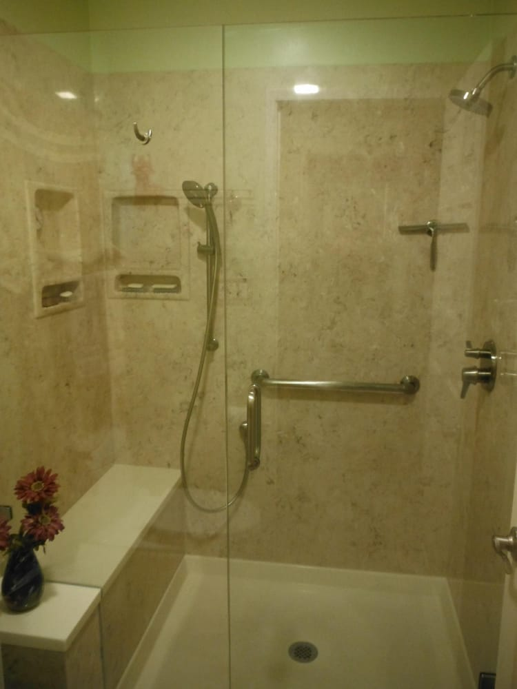 New ACM shower pan, walls & bench, C&Z Glass Shower Glass, and ...