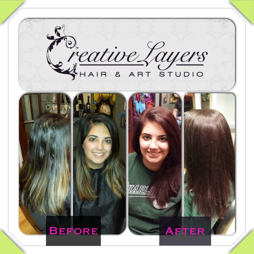 Before And After Blonde Highlights To An All Over Red Brown Hair