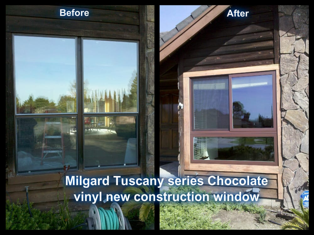 Before after milgard tuscany series chocolate vinyl new for New construction windows reviews