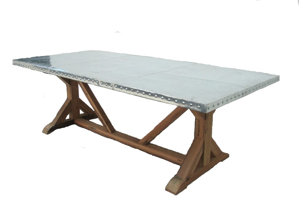 Custom and ready made zinc top reclaimed wood base dining