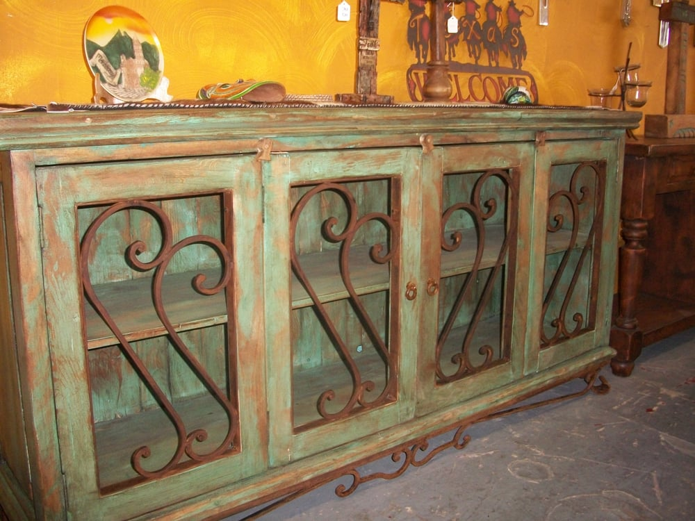 Reclaimed wood rustic credenza in turquoise color yelp