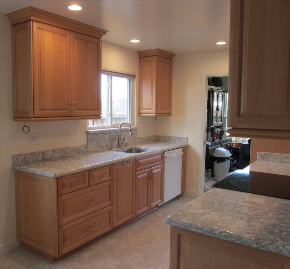 Home Depot Kitchen Cabinet Refacing: After, Showing Sink Side Of Kitchen, With 20 Or So Extra