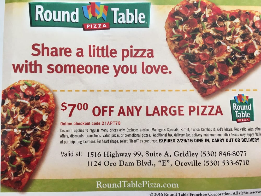 Round Table Pizza Concord.Round Table Pizza Gridley Deoverslag
