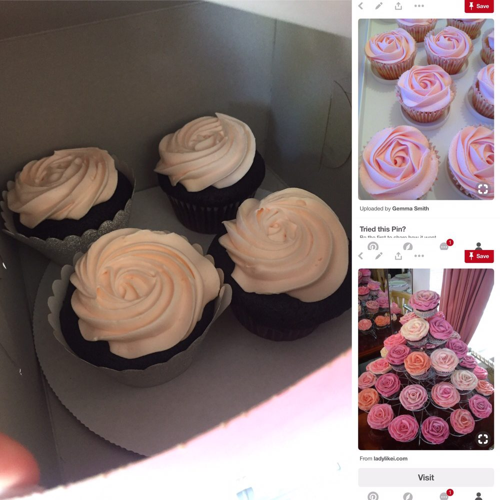Peach vs baby pink rose cupcakes I had ordered Yelp