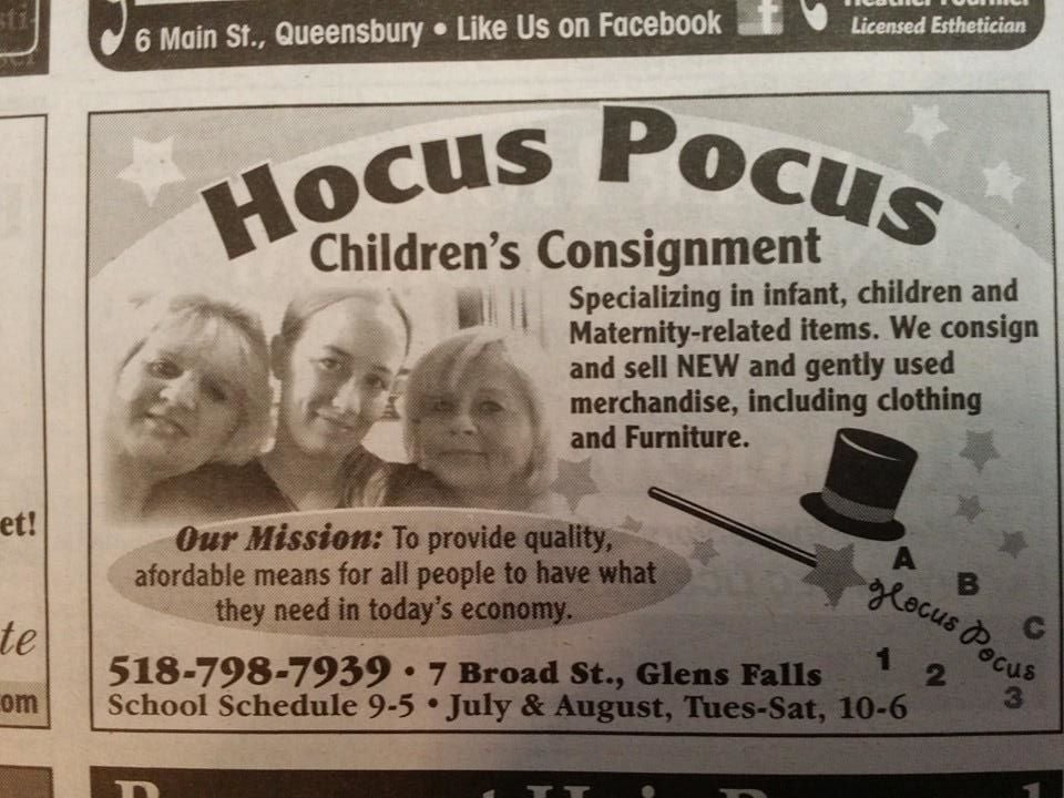 Hocus Pocus Childrenu0027s Consignment   CLOSED   Discount Store   7 Broad St, Glens  Falls, NY   Phone Number   Yelp