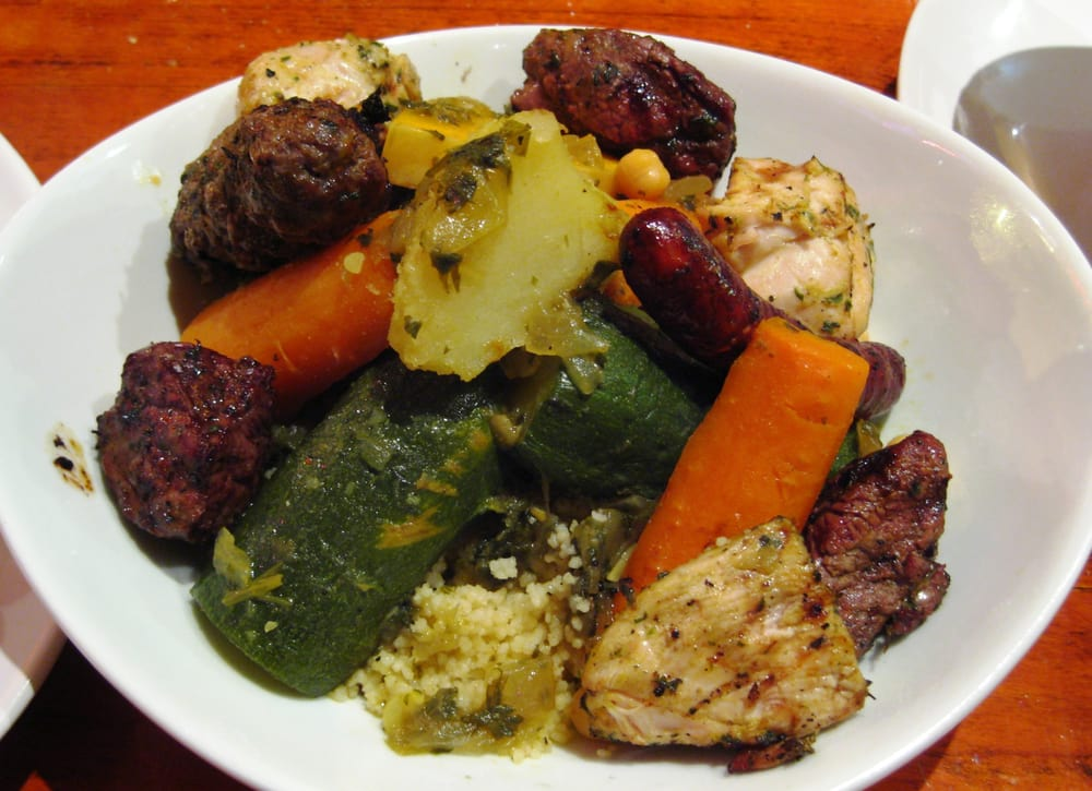 Couscous royal with grilled chicken lamb merguez kefta for Aicha moroccan cuisine san francisco