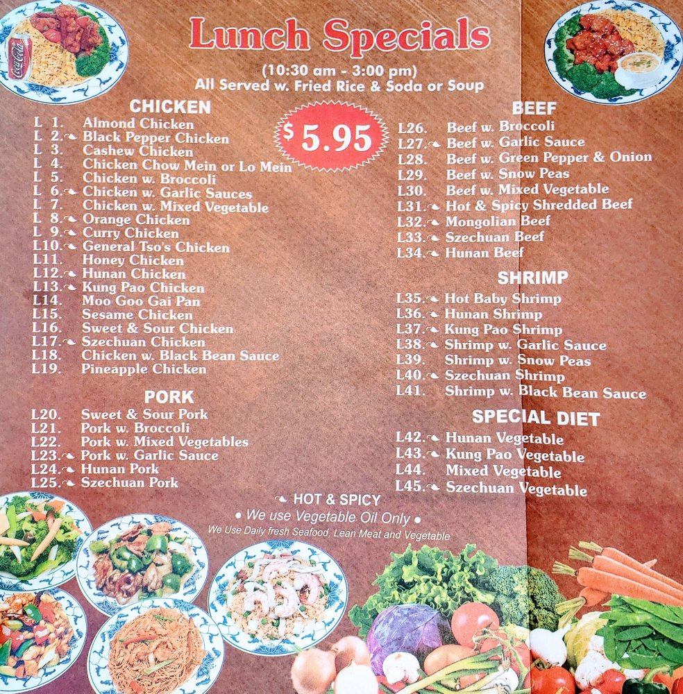 Online Menu of 7 Lucky Star - CLOSED