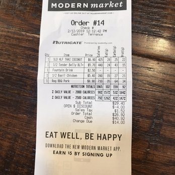 Photo Of Modern Market Eatery Rockville Md United States Receipt Shows The