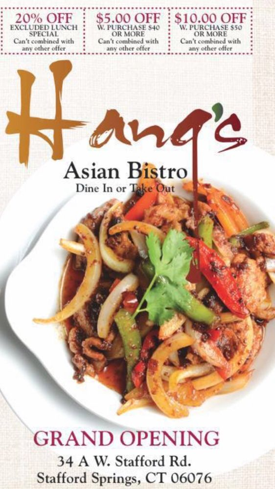 Hang's Asian Bistro: 34 W Stafford Rd, Stafford Springs, CT
