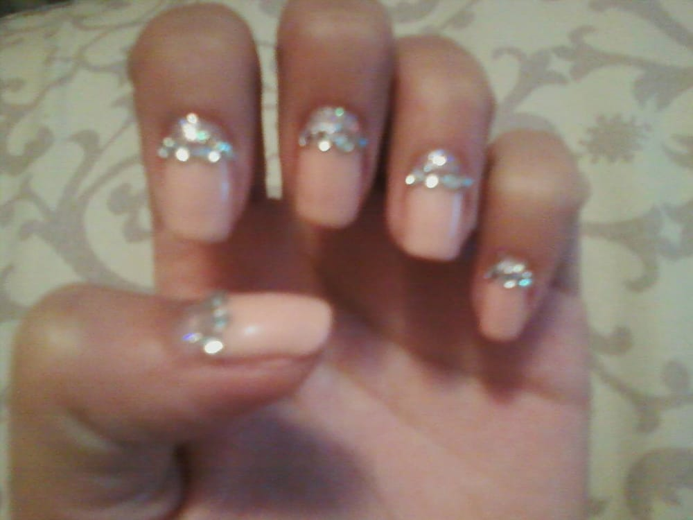cal gel reverse french tip with gems =] - Yelp