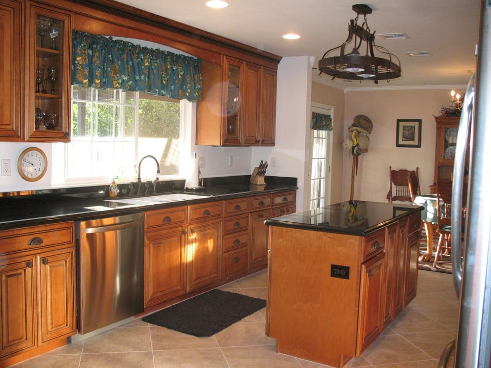 Maple Whiskey Black Glaze Cabinets - Granite Countertop - Yelp on Maple Cabinets With Black Granite Countertops  id=38428