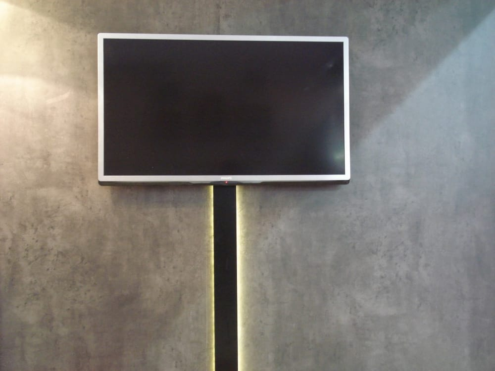support tv mural avec cache fil cacher les cables tv au. Black Bedroom Furniture Sets. Home Design Ideas