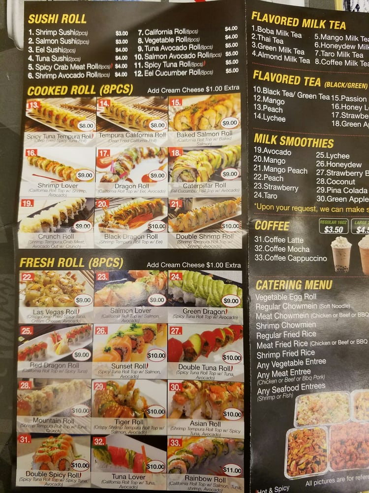 Q S Asian Cafe Menu