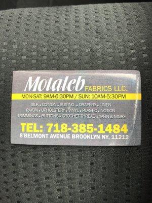 Motaleb Fabrics 8 Belmont Ave Brooklyn Ny Nonclassified