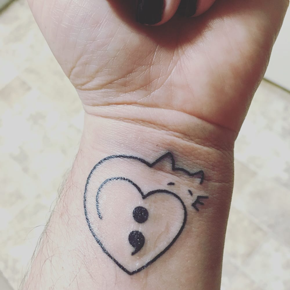 Semicolon Depression Self Harm And Suicide Awareness: My Tattoo-simple Heart Into Cat Outline With The Semicolon