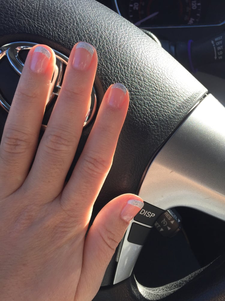 Today\'s Christmas French manicure with silver sparkles. - Yelp