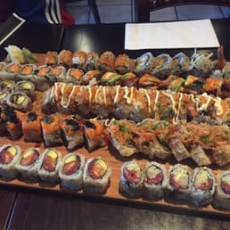Bada Sushi - Suffern, NY, United States. The platter. 10 rolls (4 designer, 6 regular)