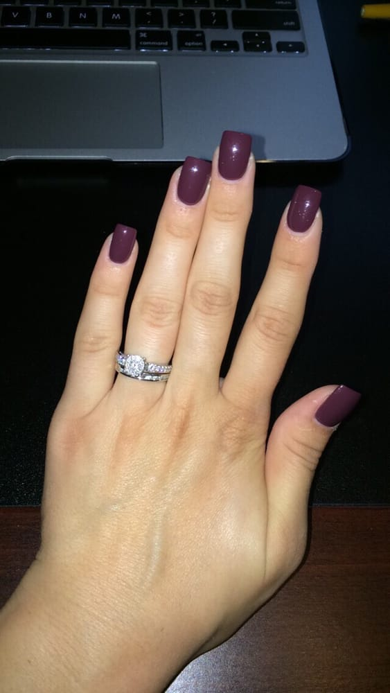 Cranberry colored acrylic nails for the fall season :) - Yelp