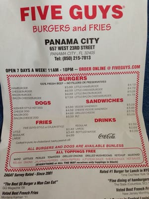 Five guys panama city fl