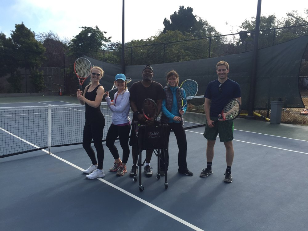Photo of Tennis Lessons By Mcclain - San Francisco, CA, United States. coach McClain and his doubles teams Meaghan and Molly vs Shannon and Lacy