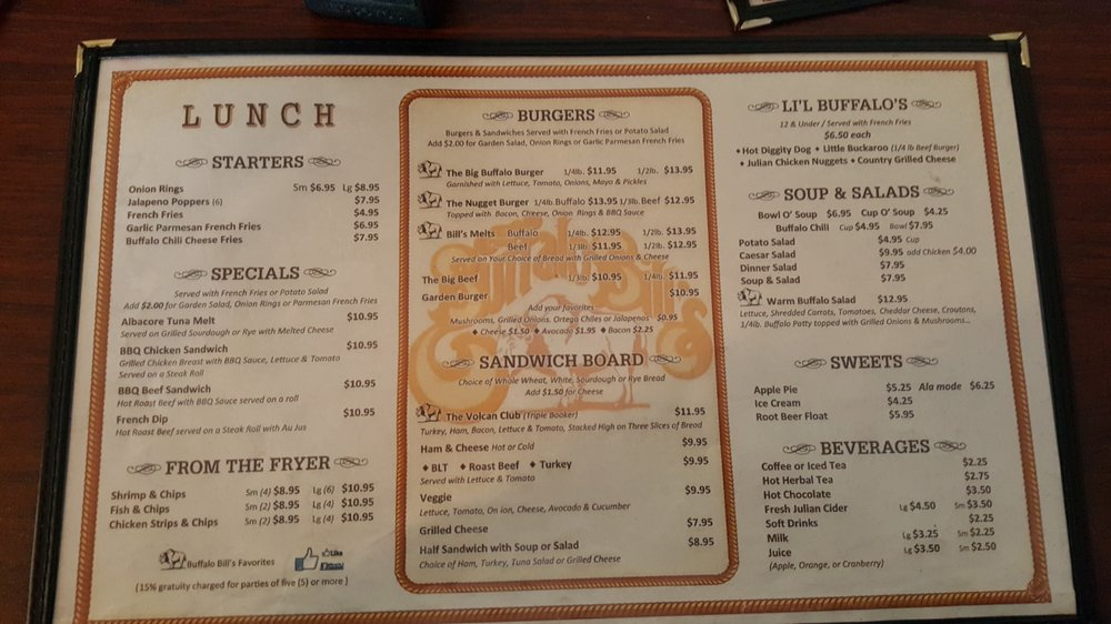 Buffalo Bills Restaurant Menu Sicklerville Nj