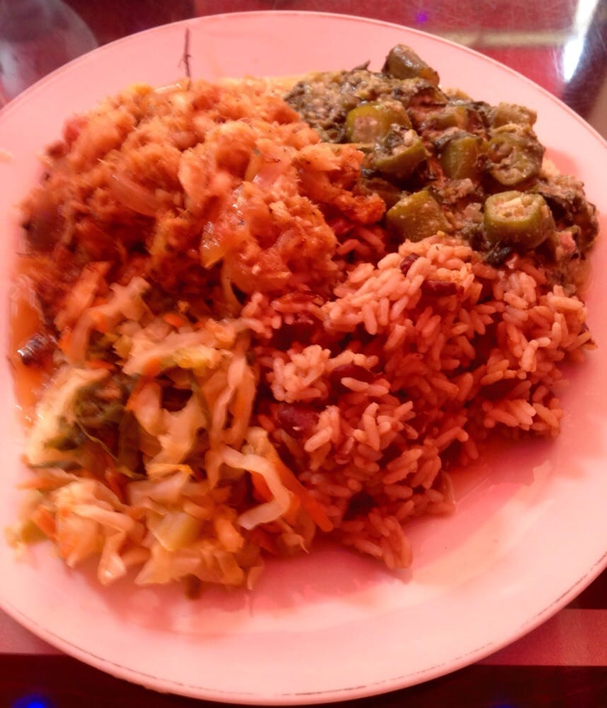 Saut ed cod with rice and sides of cabbage and callaloo yelp for About caribbean cuisine