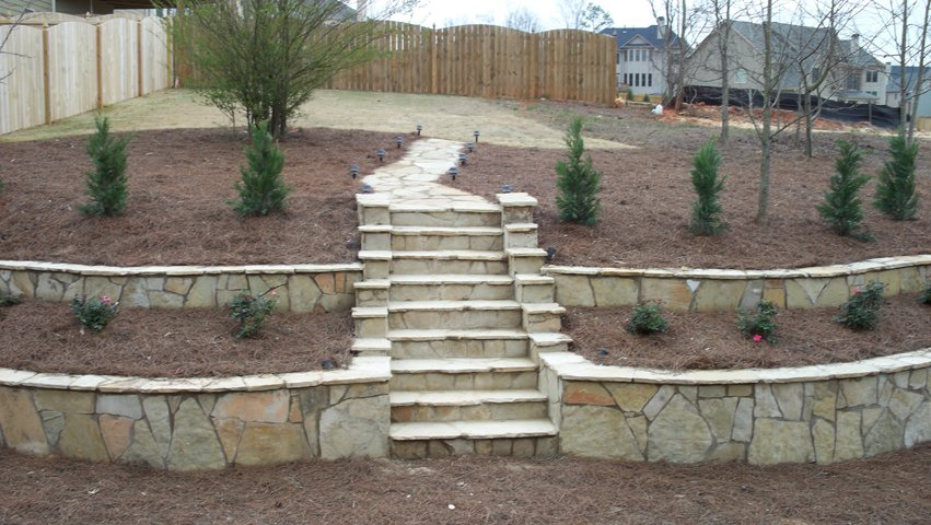 Retaining Wall And Landscaping Feature Installed In 2016