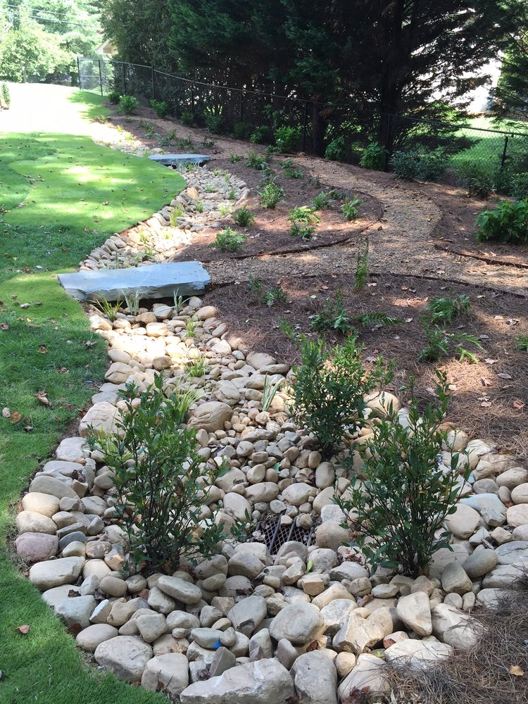 2 X4 Stone Bridge Plantings Sod River Rock Dry Creek