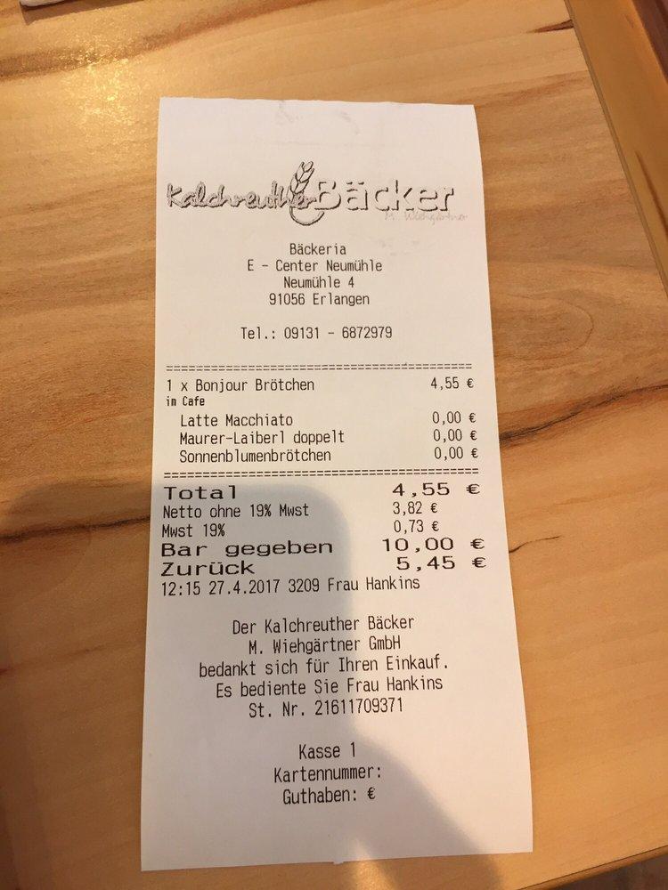Der Kalchreuther Backer Cafe Neumuhle 4 Erlangen Bayern