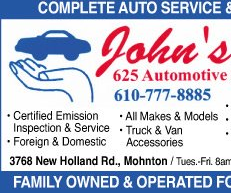 John's 625 Automotive Services: 3768 New Holland Rd, Mohnton, PA
