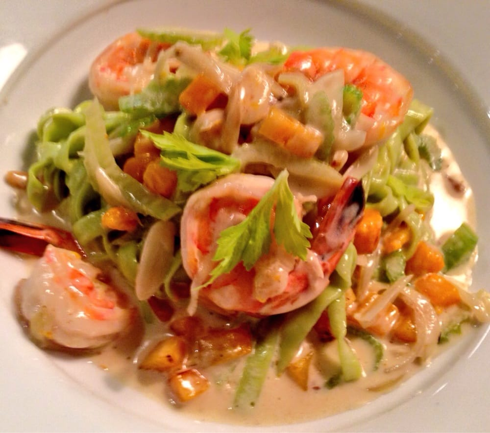 Shrimps With In House Chive Infused Linguine