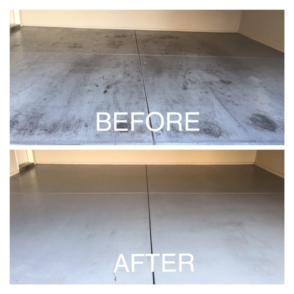 Epoxy floor cleaning in our clients garage before the new for Garage floor cleaning service