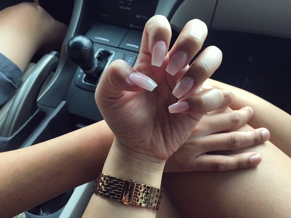 Nails done by Cindy. Acrylic full set w/ coffin nails. Color: Bubble ...
