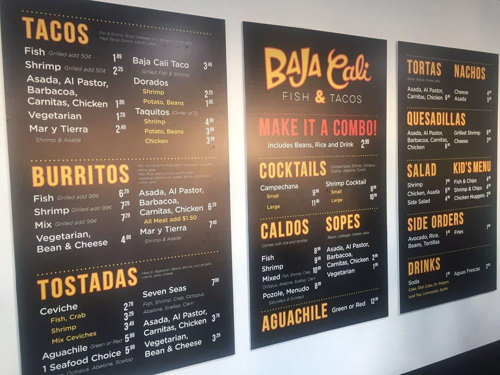 Full menu soon to come yelp for Baja fish tacos menu