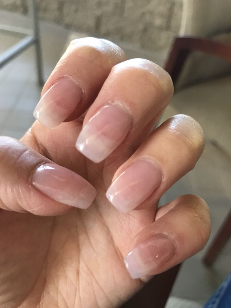 Natural pink SNS dipping powder and added tips to nails - Yelp